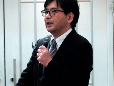 講演する秋田大学の渡邊博之教授
